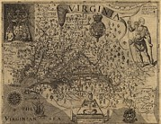 Captain America Photos - 1606 Map Of Virginia As Discovered by Everett