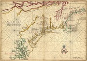 British Empire Prints - 1639 Maps Of British Colonies In North Print by Everett