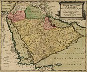 Bahrain Framed Prints - 1654 French Map Of Arabian Peninsula Framed Print by Everett
