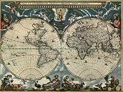Hemisphere Prints - 1664 Dutch World Map Is Richly Print by Everett
