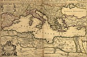 Arabia Framed Prints - 1685 Map Of The Mediterranean Sea Framed Print by Everett