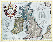 Old Earth Map Prints - 16th Century Map Of The British Isles Print by Georgette Douwma