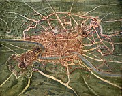 Cartography Photos - 16th Century Plan Of Rome by Sheila Terry