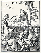 Woodcuts Photos - 16th-century School Lesson by Sheila Terry