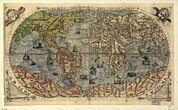 Old Earth Map Prints - 16th Century World Map Print by Library Of Congress, Geography And Map Division