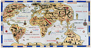 Old Map Photos - 16th Century World Map by Sheila Terry