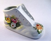 Signed Ceramics - 1708 Baby Shoe with  Roses by Wilma Manhardt