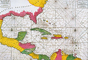 Old Map Photos - 1708 Map Of The Spanish Main by Science Source