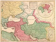 17th Century Posters - 1712 French Map Of Southwest Asia Poster by Everett