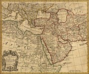 Arabia Framed Prints - 1721 Map Of Turkey, Arabia, And Persia Framed Print by Everett