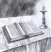Table Cloth Drawings Metal Prints - 174 Bible and Candlestick Featured Metal Print by James Robinson