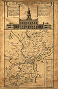 Independence Hall Digital Art Metal Prints - 1752 Philadelphia Map Metal Print by Bill Cannon