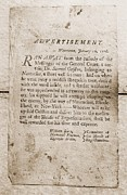 Enslaved Prints - 1776 Advertisement For The Return Print by Everett