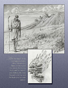 Prophet Drawings Posters - 178 Moses and the Burning Bush Poster by James Robinson
