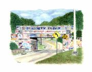 Pensacola Prints - 17th Avenue Graffiti Bridge Print by Richard Roselli