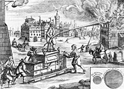 Fire Fighters Prints - 17th Century Fire Fighting, Artwork Print by Library Of Congress
