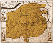 Antique Map Photos - 17th Century Map Of China by Photo Researchers