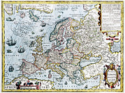 Old Earth Map Prints - 17th Century Map Of Europe Print by Georgette Douwma