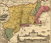 Americans Posters - 17th Century Map Of Land That Became Poster by Everett