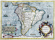 Old Earth Map Prints - 17th Century Map Of South America Print by Georgette Douwma