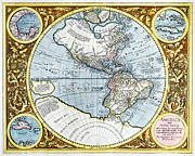 Cartography Photos - 17th Century Map Of The New World by Georgette Douwma