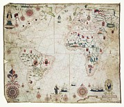 South American Photos - 17th Century Nautical Map Of The Atlantic by Library Of Congress
