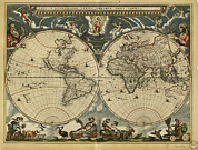 Old Earth Map Prints - 17th Century World Map Print by Library Of Congress, Geography And Map Division