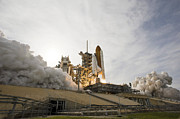 Rocket Boosters Prints - Space Shuttle Endeavour Lifts Print by Stocktrek Images