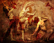 Dancer Art Mixed Media Prints - Winsome Women Print by Chris Andruskiewicz