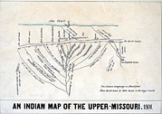Indian Territory Prints - 1801 Indian Map Of The Upper-missouri Print by Everett