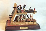 Ship Sculptures - 1812 CONSTITUTION Wood Battle Station by Rex Stewart