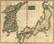 1815 Map Of Japan And Korea, Showing Print by Everett