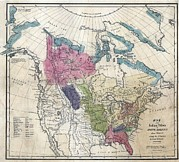 Indians Photos - 1836 Map Of The Indian Tribes Of North by Everett
