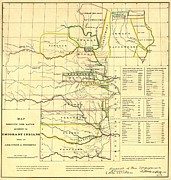 Indian Territory Prints - 1836 Map Showing The Indian Territories Print by Everett
