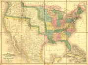 Americans Metal Prints - 1839 Map Showing Us-mexican Boundary Metal Print by Everett