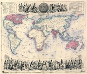 British Empire Posters - 1850s Map Of The British Empire Poster by Everett
