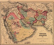Arabia Framed Prints - 1855 Map Clearly Shows The Political Framed Print by Everett