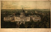 United States Capitol Prints - 1857 Panoramic View Of Washington D.c Print by Everett