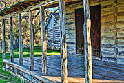 Log Cabin Art Posters - 1860 Log Cabin Porch Poster by Linda Phelps