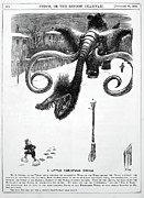 Nightmare Framed Prints - 1868 Punch Cartoon Of Mammoth Nightmare Framed Print by Paul D Stewart