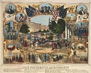 15th Amendment Prints - 1870 Print Illustrating The Rights Print by Everett