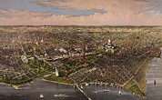 United States Capitol Framed Prints - 1880 Panoramic View Of Washington D.c Framed Print by Everett