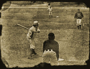 Baseball Game Framed Prints - 1890s Baseball Framed Print by John Haldane