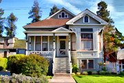 Old Towns Digital Art Prints - 1890s Queen Anne Style House . 7D12965 Print by Wingsdomain Art and Photography