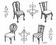 Black And White. Drawings - 18th Century English Chairs by Adam Zebediah Joseph
