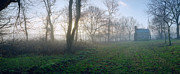 Maryland Photo Originals - 18th century Farm in Fog by Jan Faul