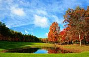Fall Colors Autumn Colors Mixed Media Posters - 18th Hole Par3 Poster by Robert Pearson