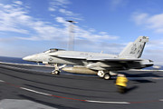 F-18 Photo Prints - An Fa-18c Hornet Launches Print by Stocktrek Images