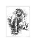Repose Drawings Framed Prints - Art Framed Print by Marek Burbul