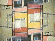 Urban Buildings Posters - Urban Abstract San Diego Poster by Carol Leigh